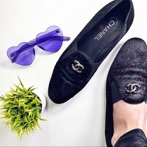 Chanel Authentic Calf Hair Rainbow CC Logo Loafers